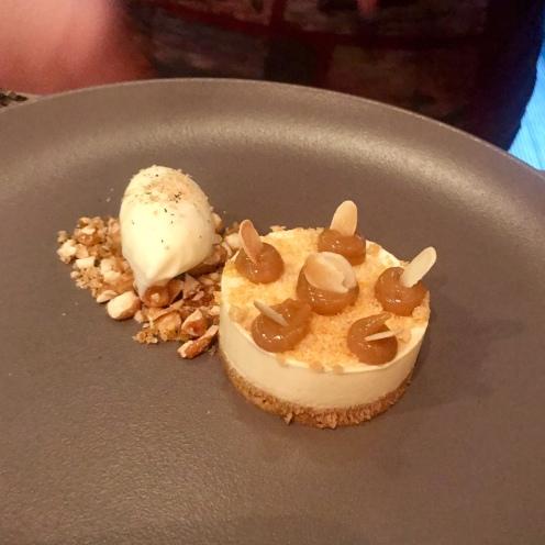Banana, almond & tonka bean cheesecake