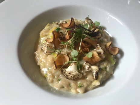 Jerusalem artichoke, cauliflower and leek risotto with Arran cheddar
