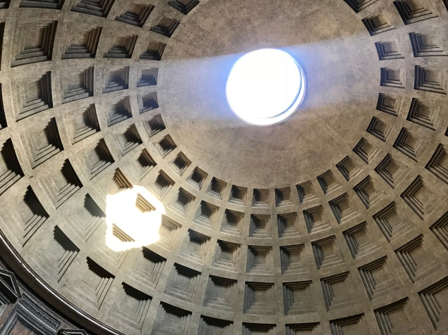 The iconic ceiling of the Pantheon
